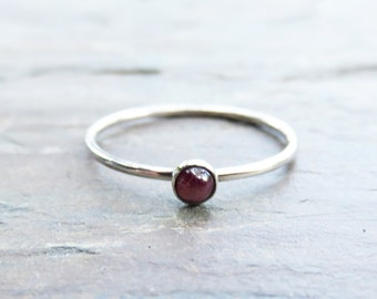 3mm Tiny Ruby Stacking Ring in Sterling Silver - Super Thin Micro Band, Smooth or Hammered - July Birthstone Stacking Ring