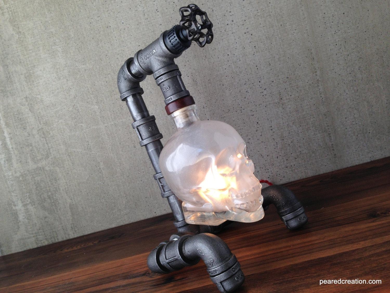 Crystal Head Vodka Lamp Skull Light Steampunk Industrial