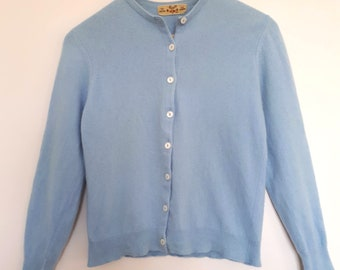 1960's blue cashmere cardigan, Braemar, made in Scotland