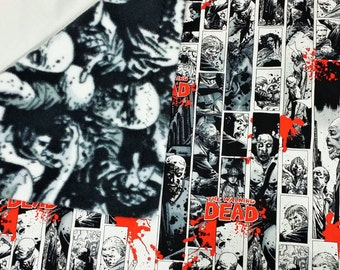 Walking Dead Comic Panel fabric made into a small blanket. Soft blanket with undead fabric. Zombie bedding made from Walking Dead fabrics