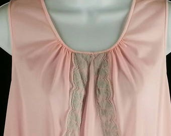 Vintage pink nylon nightgown with lace size small chest 36 Lorraine