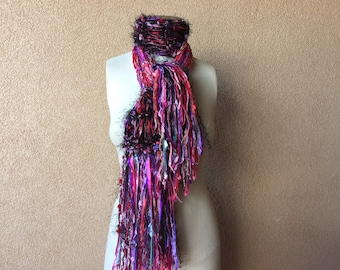 "Special Scarf in pink, red, purple, black: The ""Sweetheart"" ribbon scarf by Crickets Scarf"