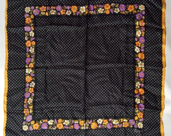 Vintage 1960s Echo Silk Scarf Black with Swiss Dots and Colorful Floral Border