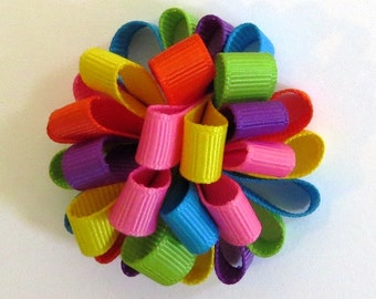 Rainbow Loopy Puff Bow Spring Easter