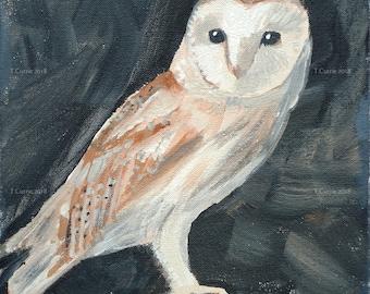 Barn Owl - Original Acrylic Painting on Canvas, Ready to Hang