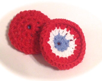 Patriotic Crocheted Cotton And Nylon Netting Dish Scrubbies- Red, White, And Light Blue
