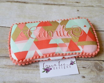 READY TO SHIP, Retro Triangles in Coral Mint and Metallic Gold Travel Baby Wipe Case, Personalized Baby Shower Gift, Monogram, Wipe Clutch