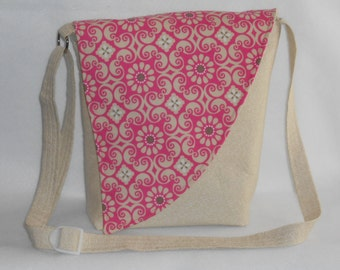 Crossbody Bag - Off white body with Pink Medallion Print Flap