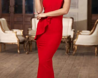Red maxi dress Jersey dress with one shoulder  Occasion dress for woman long red elegant dress Luxurious red dress floor red dress