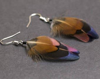 Cruelty free feathers earrings: Pheasant earrings Iridescent green Boho Chic jewelry Tribal earrings Bohemian earrings Real feathers Hippie