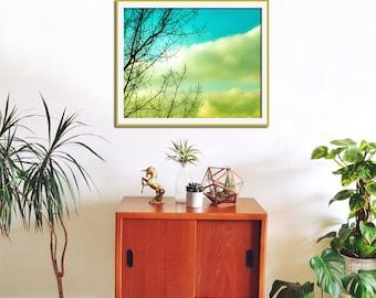 Turquoise Art, Kitchen Art, Tree Print, Yellow Home Decor, Cloud Wall Art, Happy Art, Turquoise Print, Kitchen Wall Decor