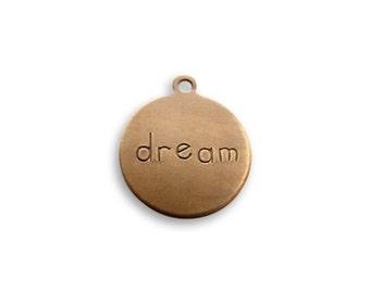 2, Vintaj Rustic Round Charm - DREAM