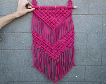 Bohemian wall decor Magenta wall hanging Bright home decor Girl's room decor Boho tapestry Macrame wall hanging Housewarming gift for her