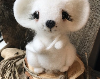 White mouse cute Interior wool felted toy