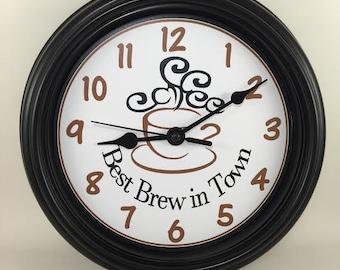COFFEE Best Java/BREW in Town KITCHEN Wall Clock