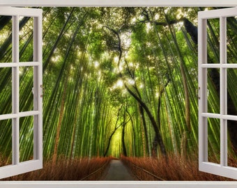 Forest View 3D Window Effect Wall Sticker Art Mural Decal 272