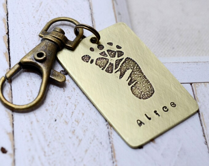 Brass Key Chain Baby's Actual Footprint - New Mom Dad Gift - Personalized Keepsake - New Baby - Father's Day Mother's Day Gift
