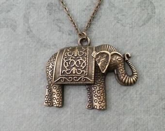 Elephant Necklace LARGE Elephant Jewelry Bronze Elephant Pendant Necklace Indian Elephant Charm Necklace Ornamental Engraved Carved Elephant