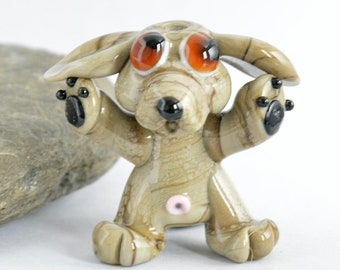 DOG ,  Lampwork Glass Dog Bead,   Glass Sculpture Collectible, Focal Bead, Pendant, Izzybeads SRA