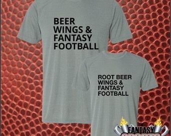 Father Son Matching Shirts - Fantasy Football - Beer / Root Beer, Wings and Fantasy Football t-shirt, matching Daddy Son shirts