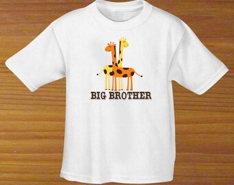 Big Brother Big Sister Giraffe Baby Bodysuit or Toddler Shirt