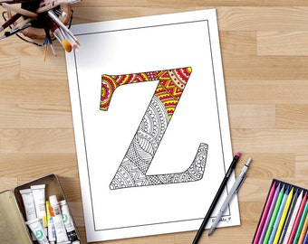 Coloring Pages With Alphabet Letters : Zentangle alphabet coloring pages henna doodle alphabet