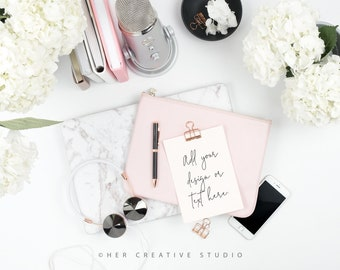 Styled Stock Photography | Flatlay Image | Hydrangea, Notecard and Desk Accessories  | Styled Photography | Digital Image