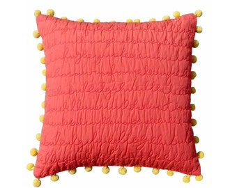 "Coral throw pillow cover, quilted cotton pillow cover, script quilting, yellow pom pom,standard size 16""X 16"""