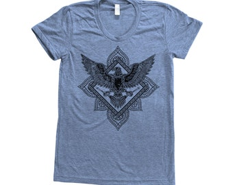 BIRD Paisley Shirt Women Custom Hand Screen Print Tri-Blend Short Sleeve Tshirt Available: S , M , L , XL