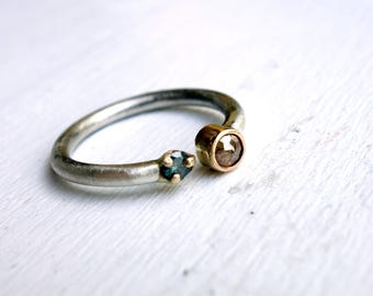 Open Diamond Ring - Natural Rose cut Diamond and Blue Diamond in 14k Gold and Sterling Silver, Split Top Ring