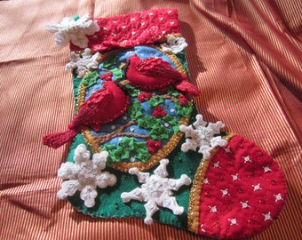 "Bucilla Completed  18"" felt stocking ""Cardinals"""