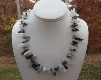 Black and White Quartz (Tourmilated) Necklace