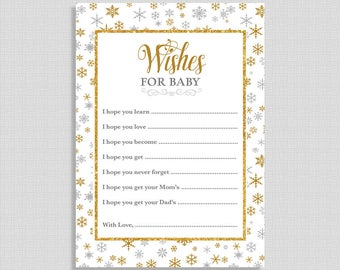 Wishes For Baby Shower Game Cards, Silver & Gold Snowflake Baby Shower Activity, Winter, Neutral, DIY Printable, INSTANT DOWNLOAD