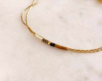 Minimalist Delicate Gold Bracelet with White & Brown Beads / Thin Tiny Double Beaded Chain Bracelet / Multicolor Boho Friendship Bracelet