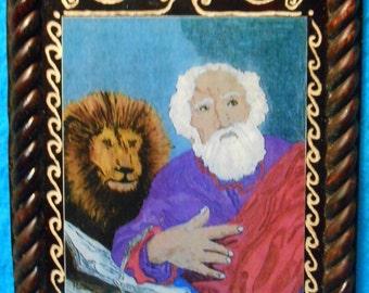 St. Mark Evangelist with Lion Feast Day April 25 Retablo - Folk Art Painting by Albuquerque Artist