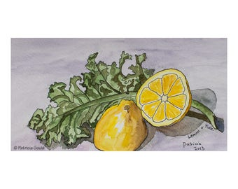 Lemon & Kale, framed watercolor on paper