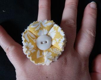 fabric yellow flower ring