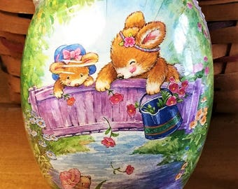 """Vintage Paper Mache Easter Egg (6""""x4"""") 3 BUNNY SISTERS Handmade in Germany Mint Condition/Factory Sealed!"""