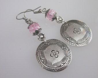 Hill Tribe Earrings, Hill Tribe Jewelry, Etched Round Metal Medallion, Beaded Flower Earrings, Tribal Earrings
