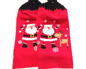 Red Santa With Reindeer Hand Towels With Black Crocheted Tops- Pair