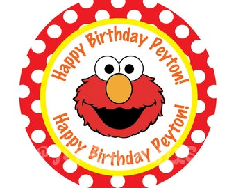 Elmo Polka dot Cupcake Toppers- Customized Digital File