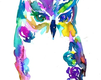 Owl Watercolor Print, Owl Painting, Minimalist Print, Minimalist Art, Abstract Owl Art, Abstract Watercolor, Owl Print, Nursery Art, Owl Art