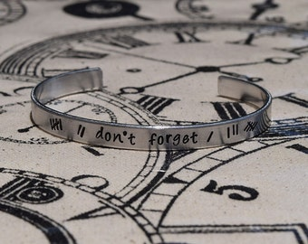 Don't Forget - The Silence - Impossible Astronaut Day - Doctor Who Inspired Aluminum Bracelet Cuff - Hand Stamped