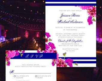 Nuit En Rose-Inspired Wedding Invite