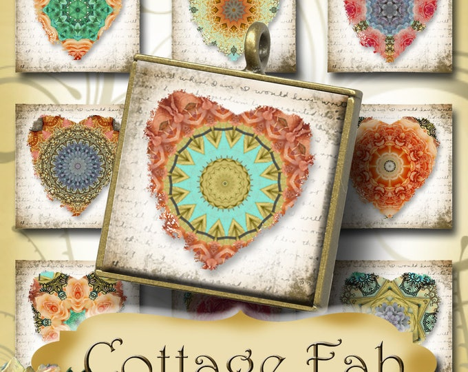 COTTAGE FAB•1x1 Heart Images•Printable Digital Images•Cards•Gift Tags•Stickers•Magnets•Digital Collage Sheet