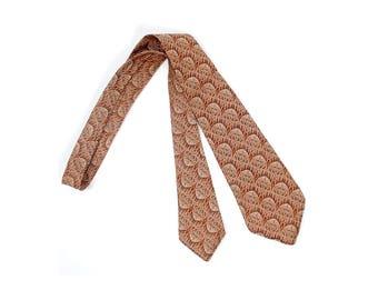 Vintage 30s Necktie - 30s Cravat - 30s Tie - 30s Brocade Tie - 30s Stained Glass Tie - Orange Brown - 30s Art Deco Necktie - 30 Striped Tie