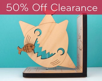 Wood Nursery Animal Bookend  Ocean Shark Baby Kids Wooden Under the Sea Underwater Bookends Clocks by graphicspaceswood