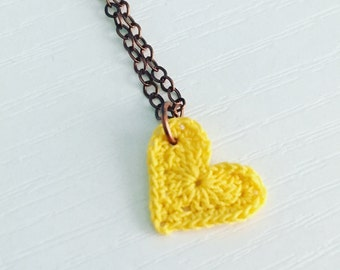 Harper Avenue Crochet Necklace in Yellow, Heart Necklace, Valentine, Love Pendant, Friendship Necklace, Mother's Day Gift, Gift Under 25
