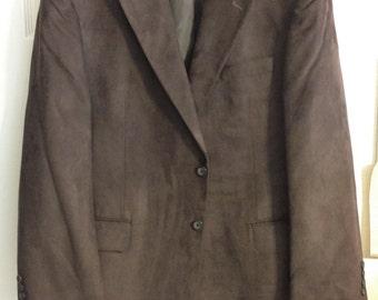 Vintage Men's Dark Brown Faux Suede Sport Coat, Men's Size 44 Regular Previously 25 Dollars ON SALE
