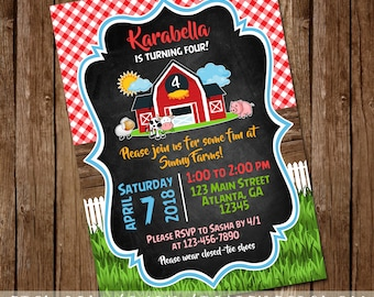 Farm Animals Boy or Girl Birthday Invitation - Red or Pink Barn Party Invite - Chalkboard - 5x7 - Digital Download - Printable